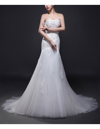 Gorgeous Crystal Beading Tulle Wedding Dresses with Appliques