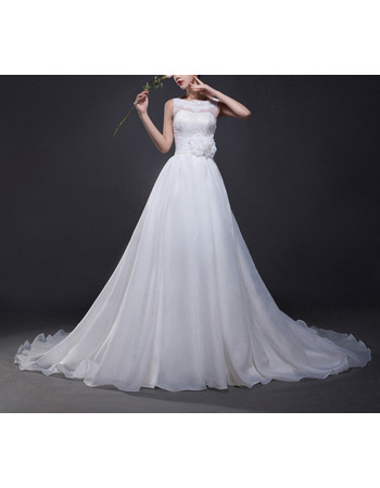 Romantic Illusion Neckline Organza Wedding Dresses with 3D Flower Waistband