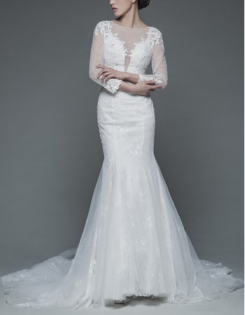 Feminine Mermaid Illusion Tulle Neckline Court Train Lace Wedding Dresses with Long Sleeves
