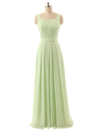 New Square Floor Length Chiffon Bridesmaid Dresses with Straps