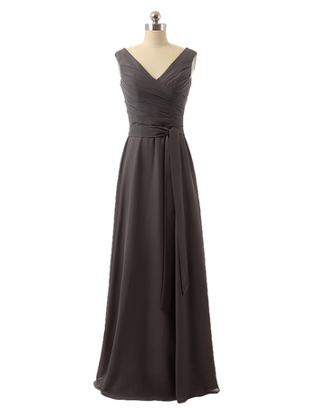 New Style V-Neck Floor Length Chiffon Bridesmaid Dresses