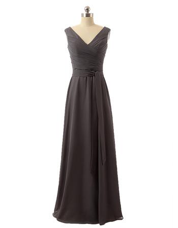 New Style V-Neck Floor Length Chiffon Bridesmaid Dresses