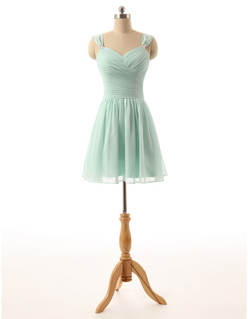 Custom Sweetheart Short Chiffon Bridesmaid Dresses with Straps