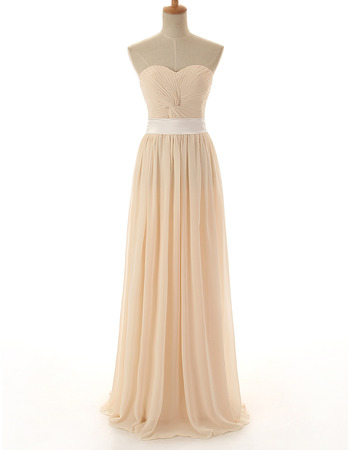 Inexpensive Sweetheart Floor Length Chiffon Bridesmaid Dress with Belt
