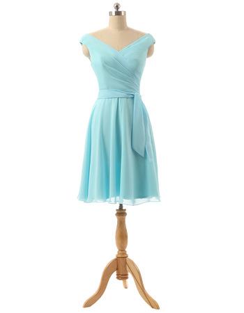 Elegant V-Neck Knee Length Chiffon Bridesmaid/ Wedding Party Dresses