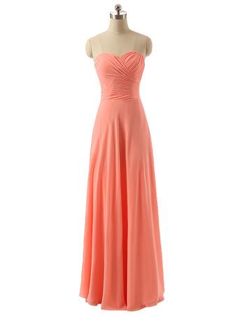 Discount Sweetheart Long Chiffon Bridesmaid/ Wedding Party Dresses