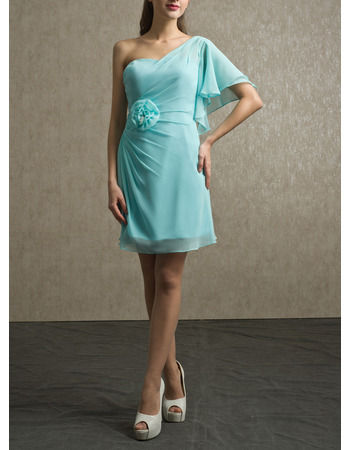 Affordable One Shoulder Short Chiffon Bridesmaid/ Wedding Party Dress