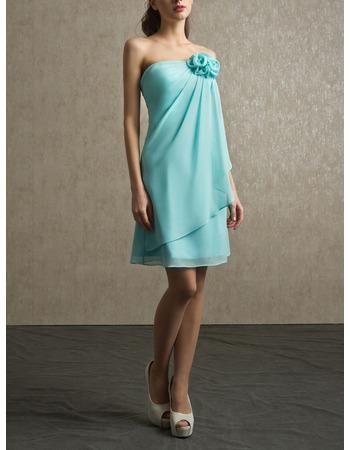 Elegant Strapless Short Chiffon Bridesmaid/ Wedding Party Dresses