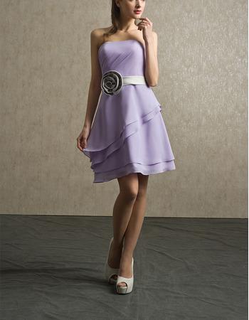 Custom Strapless Short Chiffon Bridesmaid Dresses with Belts & Flowers