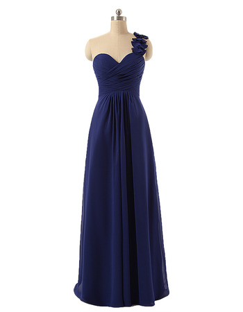 Style One Shoulder Floor Length Chiffon Bridesmaid Dresses