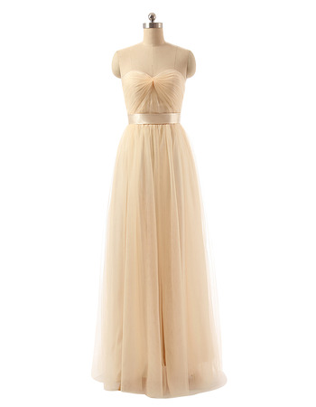Custom Sweetheart Floor Length Organza Bridesmaid/ Wedding Party Dress