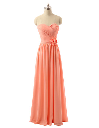 Elegant Sweetheart Long Chiffon Bridesmaid/ Wedding Party Dresses