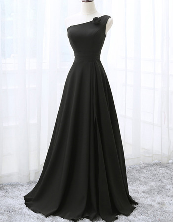 New Style One Shoulder Floor Length Black Bridesmaid Dresses