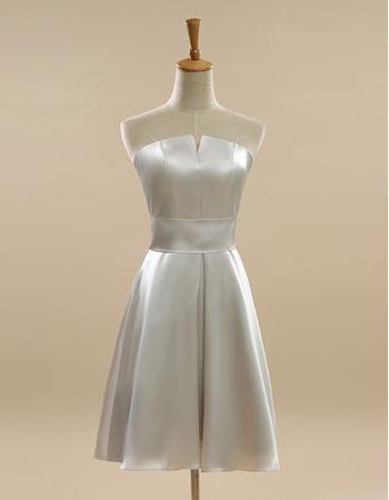 Custom Strapless Short Satin Bridesmaid/ Wedding Party Dresses