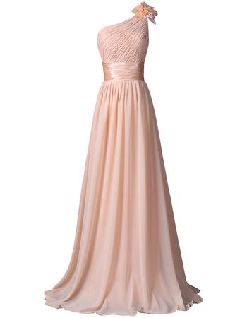 Discount One Shoulder Floor Length Chiffon Bridesmaid Dresses