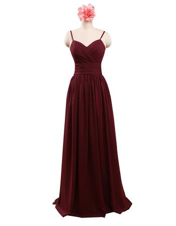 Spaghetti Straps Sweetheart Floor Length Chiffon Bridesmaid Dress