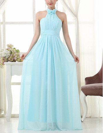 Elegant Halter Floor Length Chiffon Bridesmaid/ Wedding Party Dresses