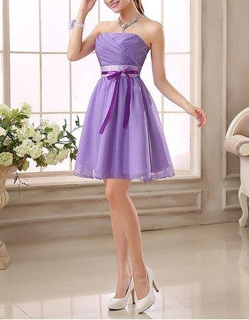 New Strapless Mini Bridesmaid/ Wedding Party Dresses with Sashes