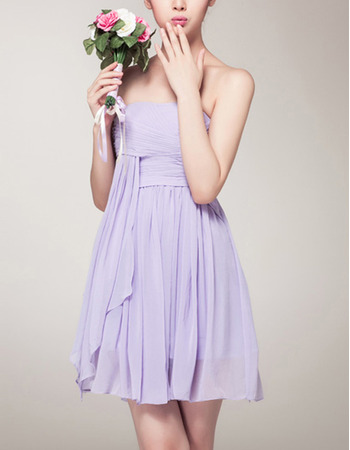 Sexy Empire Strapless Mini Chiffon Bridesmaid/ Homecoming Dresses