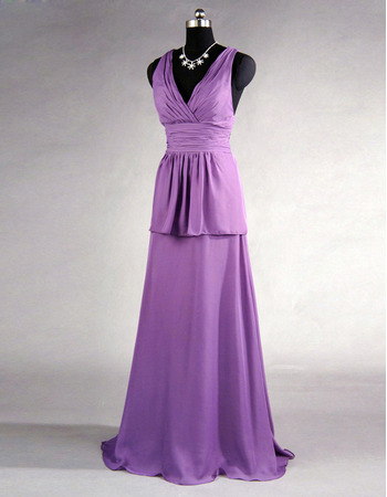 Style V-Neck Sleeveless Floor Length Chiffon Bridesmaid Dresses