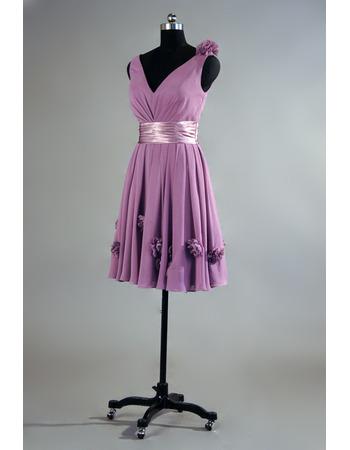 Inexpensive V-Neck Knee Length Chiffon Bridesmaid/ Wedding Party Dress