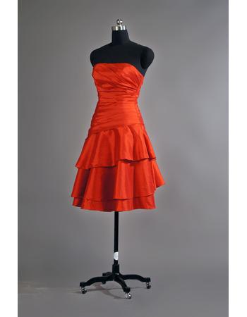New Strapless Short Taffeta Layered Lace-Up Bridesmaid Dresses