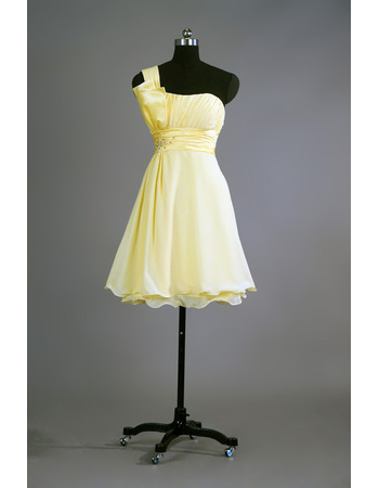 Custom One Shoulder Short Chiffon Bridesmaid/ Homecoming Dresses