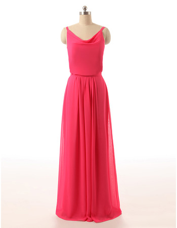 Fashion Style Cowl Neck Full Length Chiffon Bridesmaid Dress with Spaghetti Straps