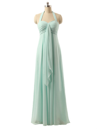 Fashion Style Halter Sweetheart Full Length Chiffon Bridesmaid Dresses with with Front Cascade