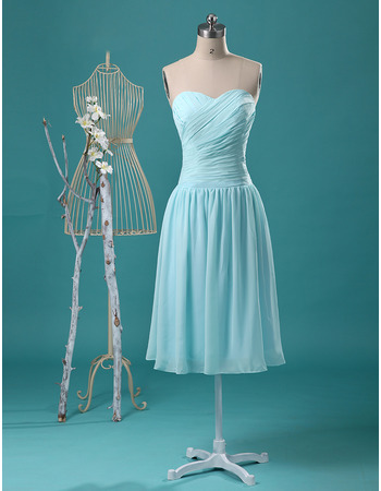 Simple Strapless Sweetheart Knee Length Chiffon Bridesmaid Dress for Wedding