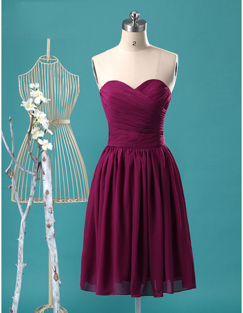 Simple Summer Sweetheart Knee Length Pleated Chiffon Bridesmaid Dresses