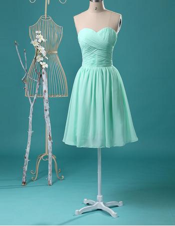 Discount Summer Sweetheart Crossover Draped Bodice Knee Length Chiffon Bridesmaid Dresses