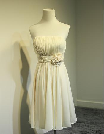 Discount Summer Knee Length Pleated Chiffon Bridesmaid Dresses with Handmade Flowers Waist