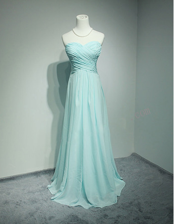 Simmple Sweetheart Long Length Chiffon Pleated Bridesmaid Dresses