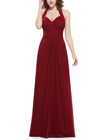 Discount Halter Sweetheart Floor Length Chiffon Bridesmaid Dresses