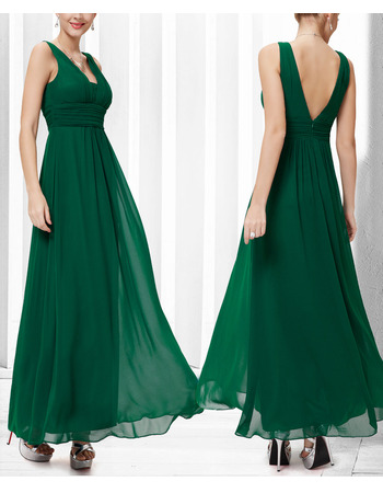 Sexy V-Neck Sleeveless Floor Length Chiffon Bridesmaid Dresses