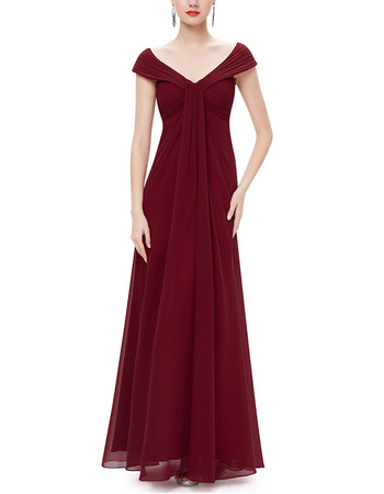 V-Neck Floor Length Chiffon Bridesmaid Dresses with Cap Sleeves