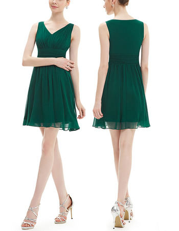 Vintage V-Neck Short Chiffon Bridesmaid/ Wedding Party Dresses