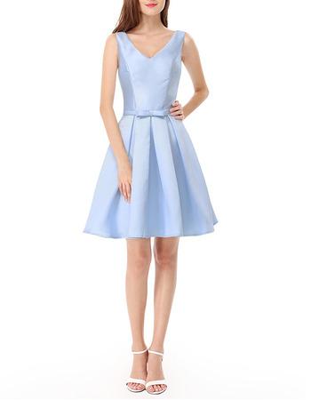 New V-Neck Short Satin Bridesmaid/ Wedding Party Dresses