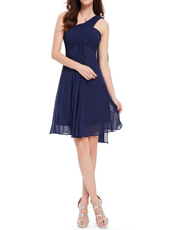 Custom One Shoulder Short Chiffon Bridesmaid/ Wedding Party Dresses