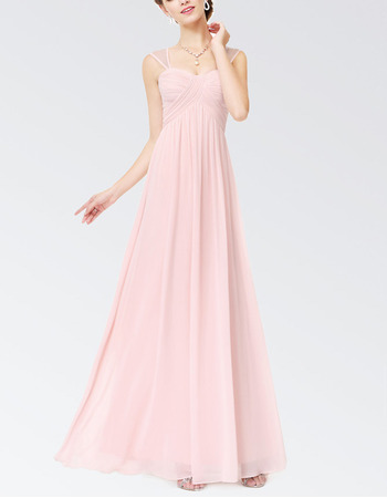 Custom Sleeveless Floor Length Chiffon Bridesmaid Dresses with Straps