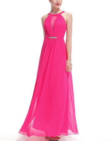 Discount Sleeveless Floor Length Chiffon Bridesmaid/ Evening Dresses