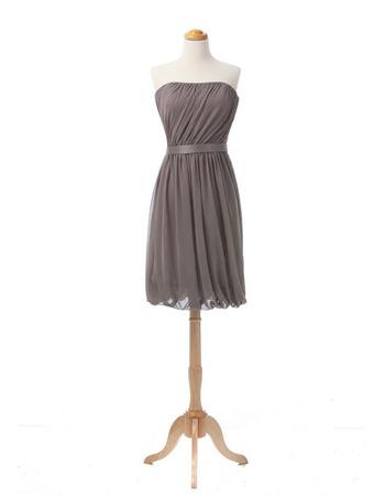 Vintage Column Strapless Short Chiffon Bridesmaid/ Wedding Party Dress