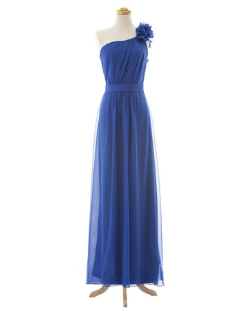 One Shoulder Floor Length Chiffon Bridesmaid Dresses