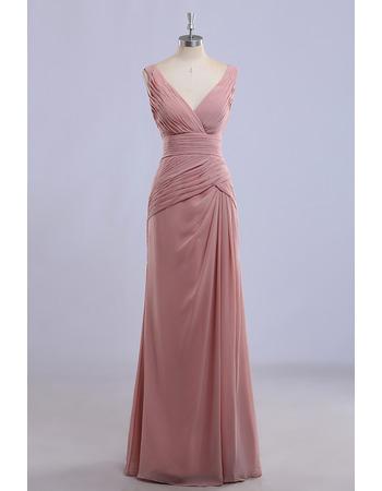 Custom V-Neck Sleeveless Floor Length Chiffon Bridesmaid Dresses