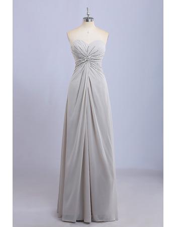 New Sweetheart Floor Length Chiffon Beading Bridesmaid Dresses