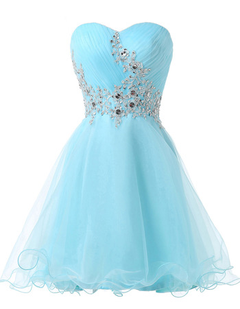 Elegantly Sweetheart Organza Homecoming Party Dresses with Appliques Crystal Beading