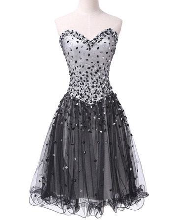 New Sweetheart Short Satin Tulle Rhinestone Cocktail Dresses
