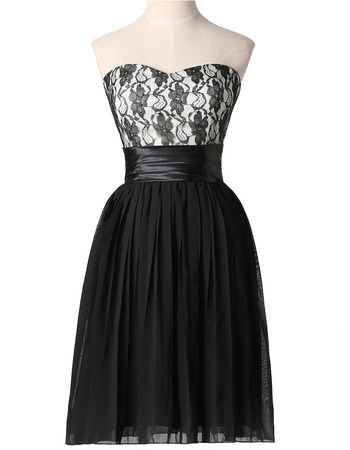 Affordable Sweetheart Short Lace Bodice Black Cocktail Party Dresses with Pleated Skirt