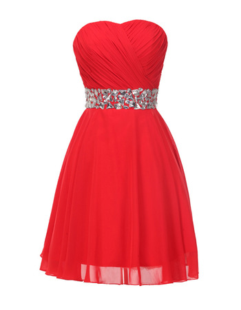 Sweetheart Chiffon Lace-Up Cocktail Dresses with Rhinestone